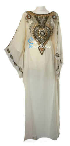 Farasha with Detailed Gem Stone Work in Many Colours Maxi Dubai Kaftan Dress
