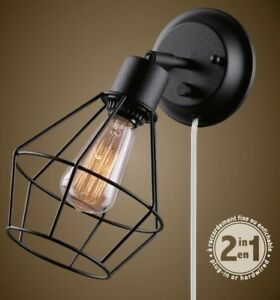 Details About Vintage Plug In Wall Sconce Lamp W Adjule Rustic Black Cage Shade