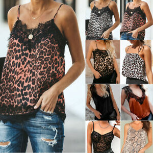 Fashion-Women-Summer-Vest-TopS-Sleeveless-Lace-Leopard-Casual-Tank-Top-T-Shirt-J