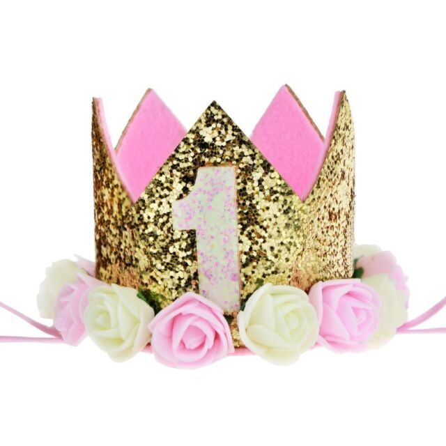 Terrific Baby 1St Birthday Crown Gold Flower Tiara Headband Party Hairband Personalised Birthday Cards Cominlily Jamesorg