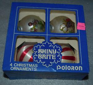 Christmas-Ball-Ornaments-Glass-Stripe-Fabric-Wreath-Tree-4-Vintage-Set-2-25-inch