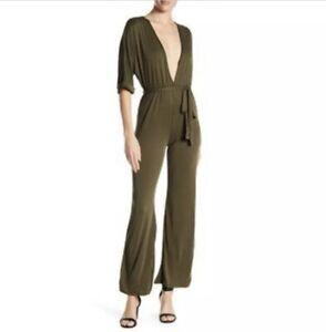 Emory-Park-Olive-Green-Deep-V-Neck-Jumpsuit-Size-S