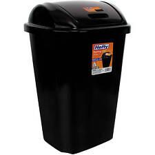 Hefty Swing Lid Trash Can Garbage Waste Bin Tall Plastic Kitchen 13 5 Gal Black
