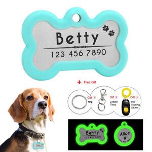 pet id tag dog puppy name tag personalised bone shape engraved dog