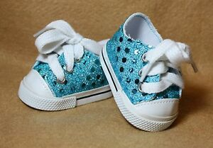 9d8c3cd5497a7 Details about Doll Shoes fitting 18 in & American Girl Dolls Teal Sparkling  Tennis Shoes NEW!