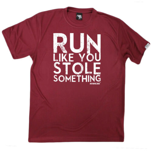 Running T-Shirt Funny Mens Sports Performance Tee Run Like You Stole Something