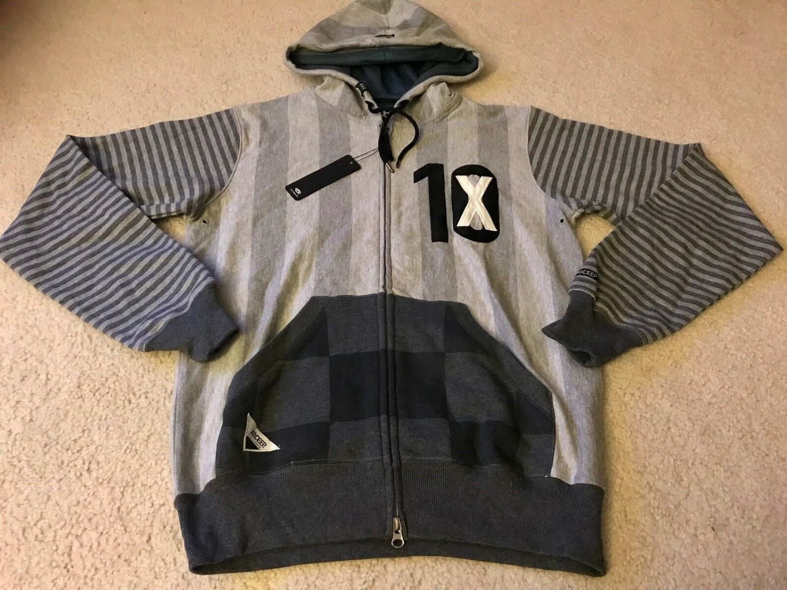 10 DEEP STRIPED ZIP HOODY HOODIE GREY NWT SMALL S supreme diamond supply