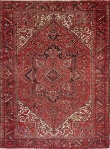 ANTIQUE-10x13-Heriiz-Geometric-RED-Oriental-Area-Rug-Hand-Knotted-Wool-Carpet