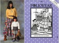 Folkwear Navajo Blouse & Skirt Women 4-20 & Girls 4-10 Size Sewing Pattern 120