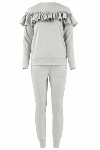 Kids Frill Detail Top /& Jogger Two Piece Girls Lounge Wear Suit Set 5-13 Years