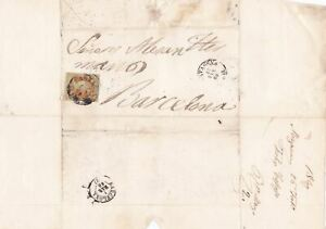 Spain 19th century imperf stamp cover  Ref: 8239