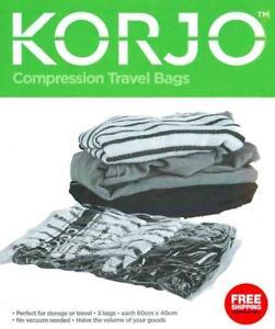 Korjo-3-Pack-Compression-Travel-Storage-Bag-Set-No-Vacuum-Required-Seal-Bags
