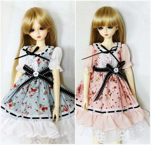 -Pink BJD Doll Clothes Lolita Dress 1//4 1//3 msd SD Girl Blue