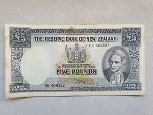 5 LB (environ 2.27 kg) 1956 Nouvelle-Zélande Banknote-afficher le titre d`origine