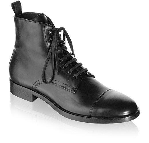 Handmade men up schwarz cap toe lace up men military ankle Leder boot, Men combat Stiefel 543474