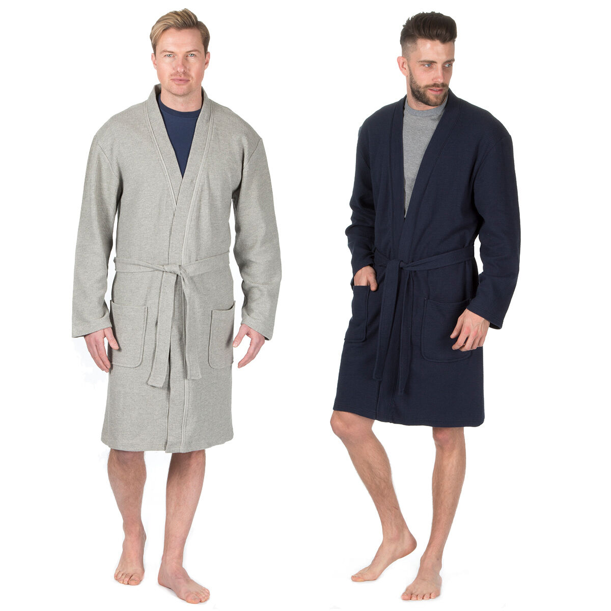 Mens Pierre Roche Cotton Rich Plain Waffle Robe   Dressing Gown