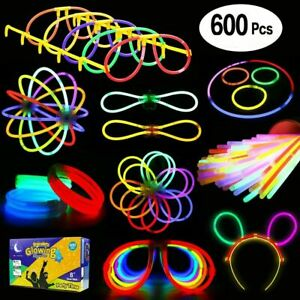 Glow-In-The-Dark-Stick-Sticks-Bracelets-Necklaces-Lot-Necklace-Party-Favors-Pack