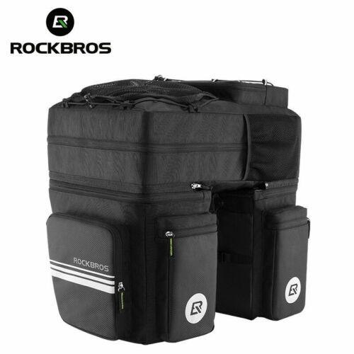 ROCKBROS Mountain Bike Waterproof Trunk Rack Pack Black Bag with Rain Cover 48L
