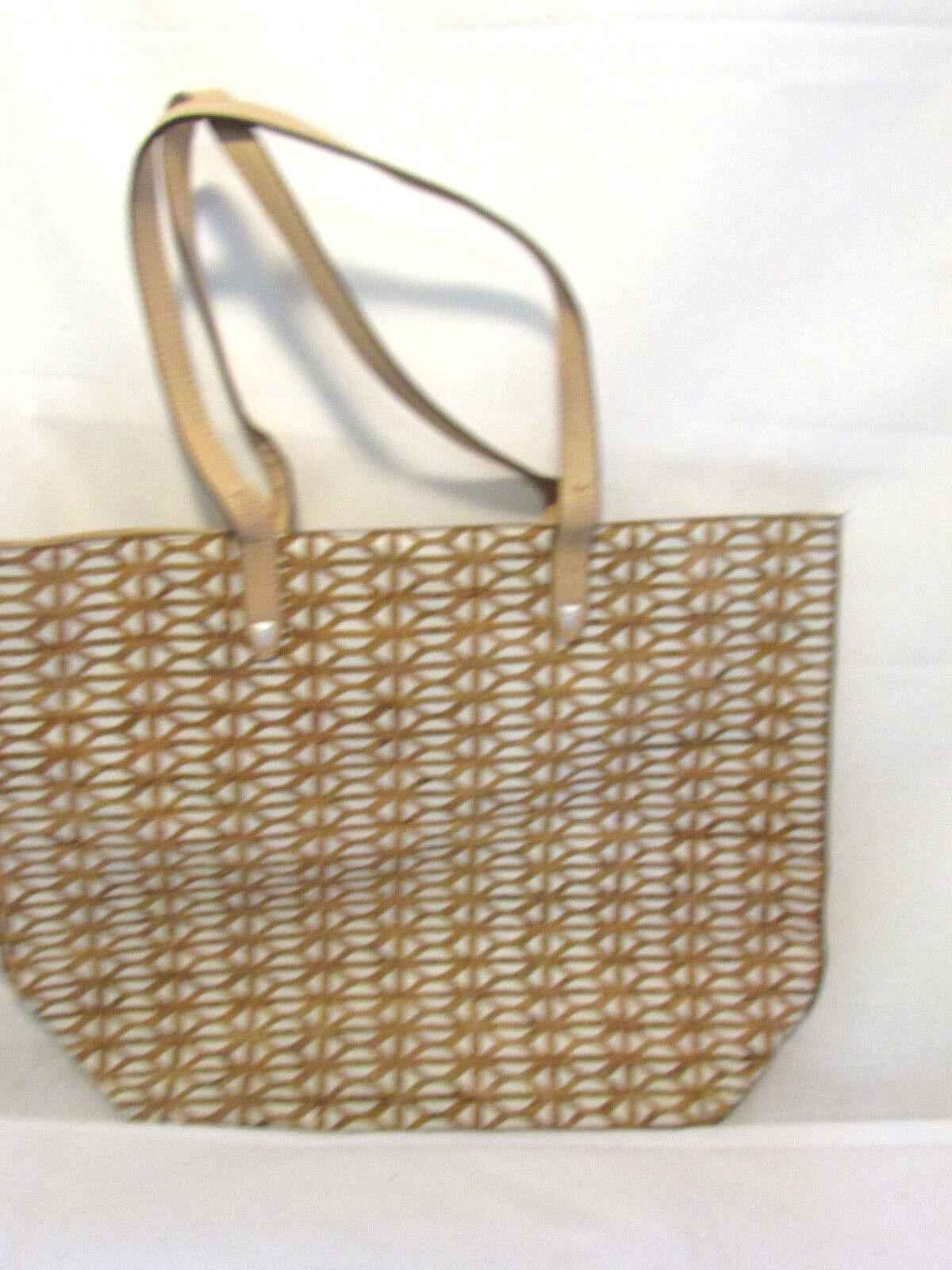 Stella & Dot Tote Fillmore Geometric Wine Cork Pattern Handbag Purse