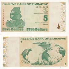 ZIMBABWE 5 DOLLARS 2009 FDS UNC