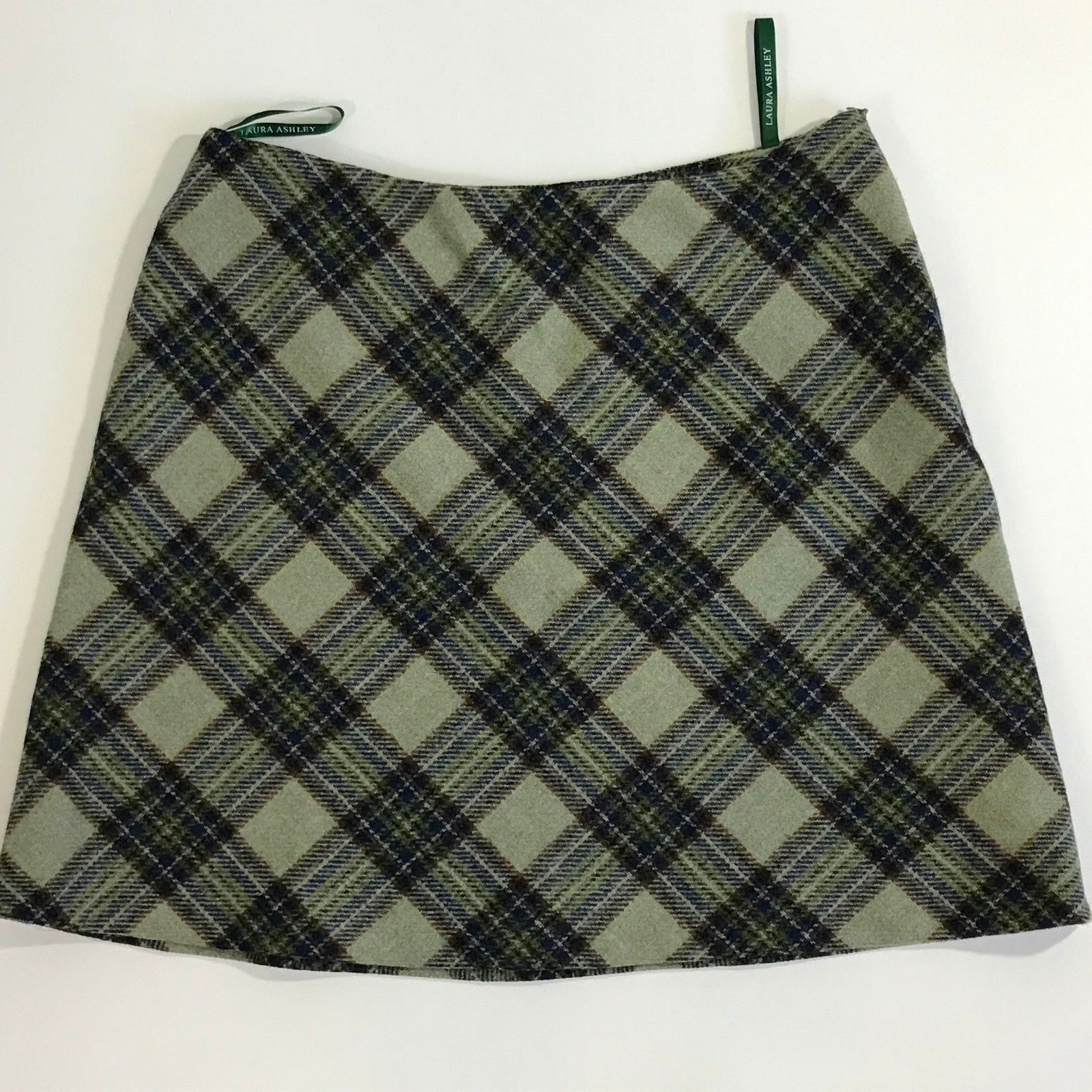 Laura Ashley US Size 14 Green bluee Multi-color Plaid Wool Lined A-line Skirt