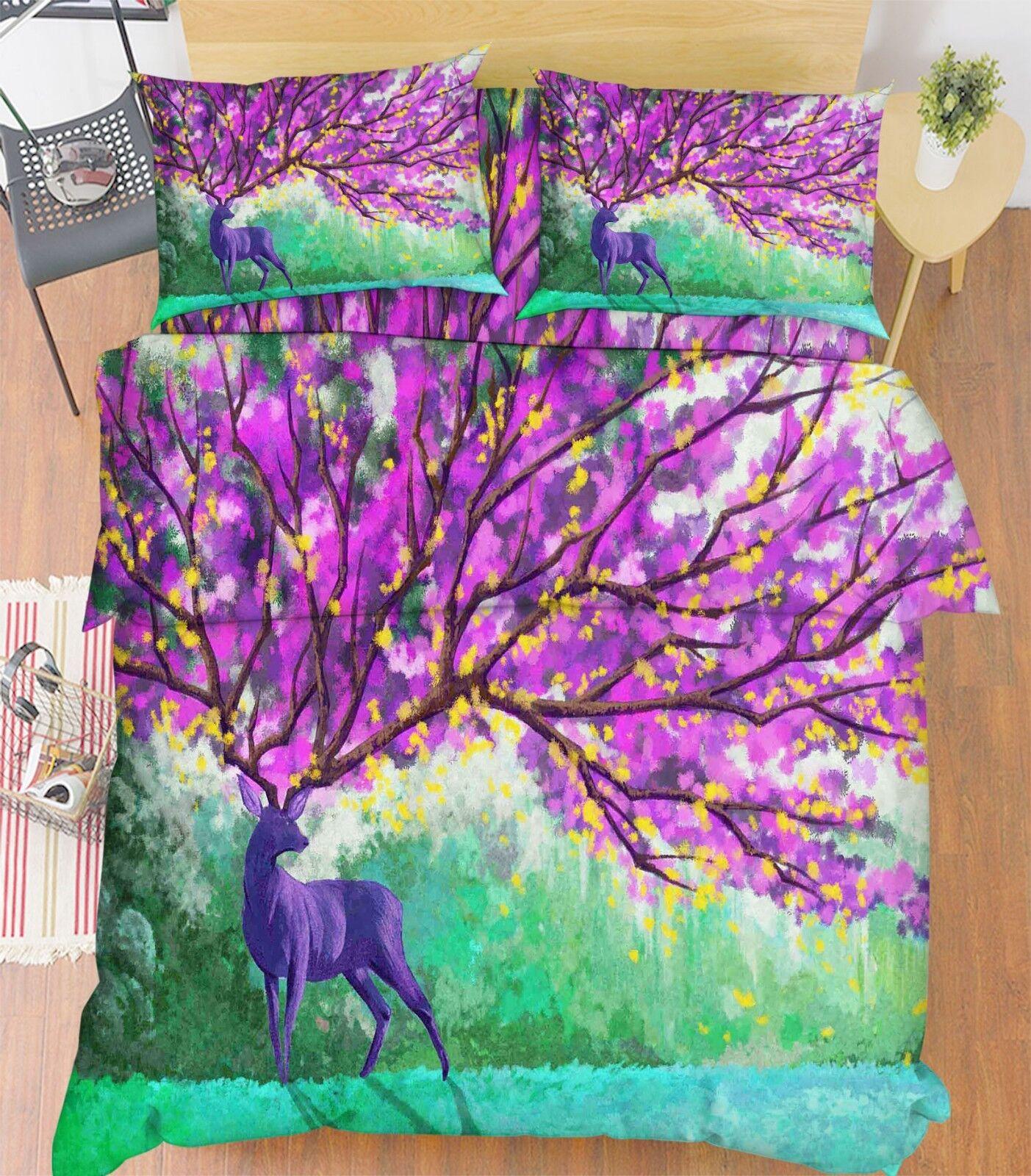 3D Flowers Deer 576 Bed Pillowcases Quilt Duvet Cover Set Single King UK Lemon