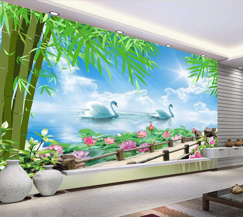3D Bamboo Leaves Swan 649 Paper Wall Print Wall Decal Wall Deco Indoor Murals