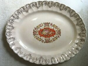 Trojan-By-Sebring-22K-GOLD-Buddha-Consul-OVAL-PLATTER-PLATE-Floral-DISCOLORATION