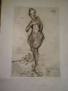Emile-BAUDOUX-1850-1929-GRANDE-GRAVURE-PAUL-CAPELLANI-THEATRE-CARICATURE-1900
