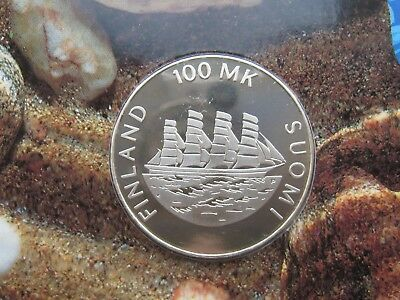 Finland 100 Markkaa 1991 Silver Aland UNC Condition !!!