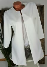 NEU ITALY ELEGANTER LONG JACKETT BLAZER GERIPPT MUST HAVE WEIß 36-40