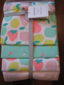 New NWT Carter Girl Pink Kitty Cat 4 Pack Receiving Flannel Cotton Blanket Set