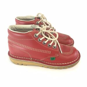 kickers girls / ladies red leather solid lace up casual