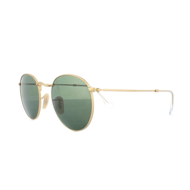 5febe4e3802d Ray-Ban Sunglasses Round Metal 3447 112 58 Gold Green G-15 Polarized