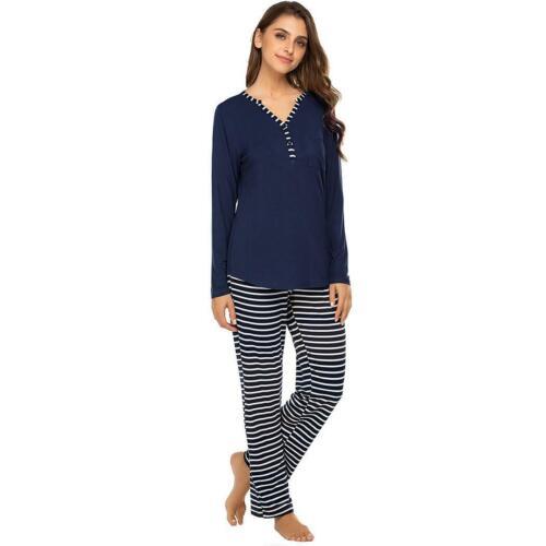 Damenmode mit V Ausschnitt Langarm gestreiften Hosen Pyjama Set zac