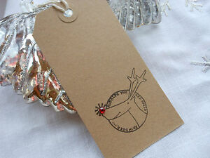 Christmas Gift Tags Handmade.Details About 10 Buff Rudolph The Red Nosed Reindeer Christmas Gift Tags Handmade