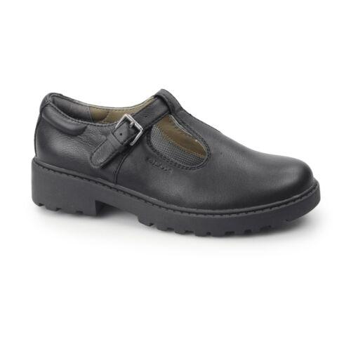 GEOX JR CASEY Girls Leather Uniform School Comfy Formal Smart T Bar Shoes Black