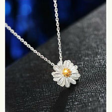 925 Silver Plated Flower Necklace Cute Clavicle Chain Daisy Charms Pendant Hot t