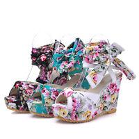 Womens Peep Toe High Floral Wedge Heel Bohemia Platform Ankle Strappy Sandals