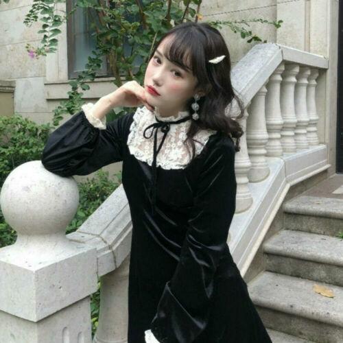 Women Lace Velvet Dress Ruffle Frill Gothic Lady Mini Retro Lolita Party Dress