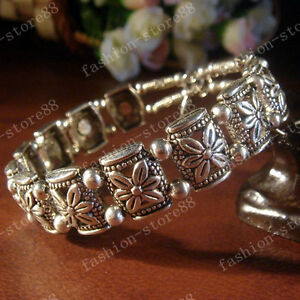 Handmade-Fashion-Tibetan-Silver-Bracelets-Tibet-Flower-Design-Bangle-AAA89