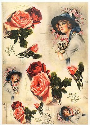 Rice Paper Portrait of a Woman  Decoupage  Scrapbook Crafting Sheet   17