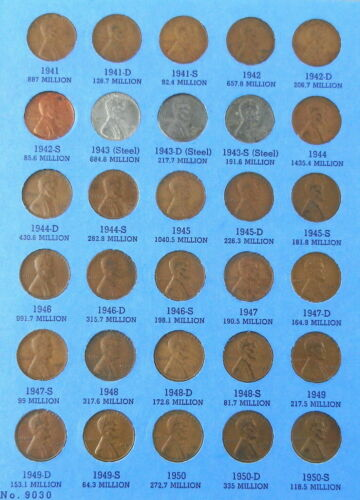 Collection Complete 1941-1974 Lincoln Wheat Cent Set Includes 1943 Steel Cents