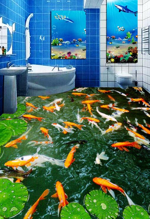 3D Karpfen Lotus 455 Fototapeten Wandbild Fototapete Tapete Familie DE Lemon