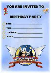 Sonic The Hedgehog Kids Childrens Party Invitations X 12 Invites For