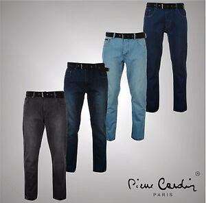 Mens Designer Pierre Cardin Casual Straight Web Belt Jeans Pants Cotton Trousers Profitieren Sie Klein