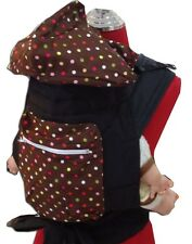 NEW MEI TAI BABY SLING CARRIER WITH SLEEPING HOOD/POCKET (Multi Dot on Brown)