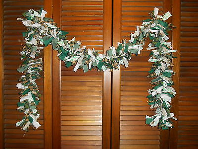 SHAMROCK RAG GARLAND,6 feet,,ST Patrick,Shamrocks,Homespun, Country,Shabby,Irish