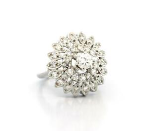 Vintage-Diamond-Floral-Cocktail-Ring-14K-White-Gold-0-75-CTW-Ladies-Size-3-75
