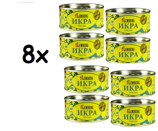8x Lemberg Caviar de Dorschrogen Икра* Трески, 8x100g=800gr